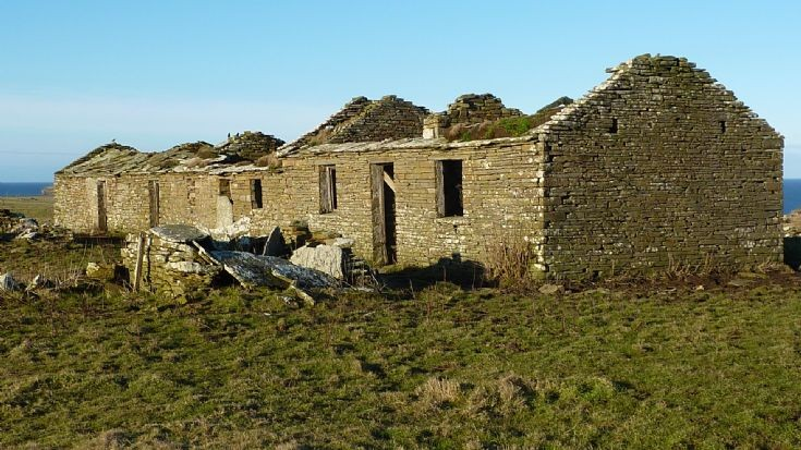 Purgatory in Birsay showing the remains of a flag roof