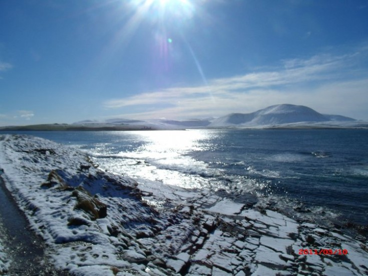 Snowy Hoy from the shore