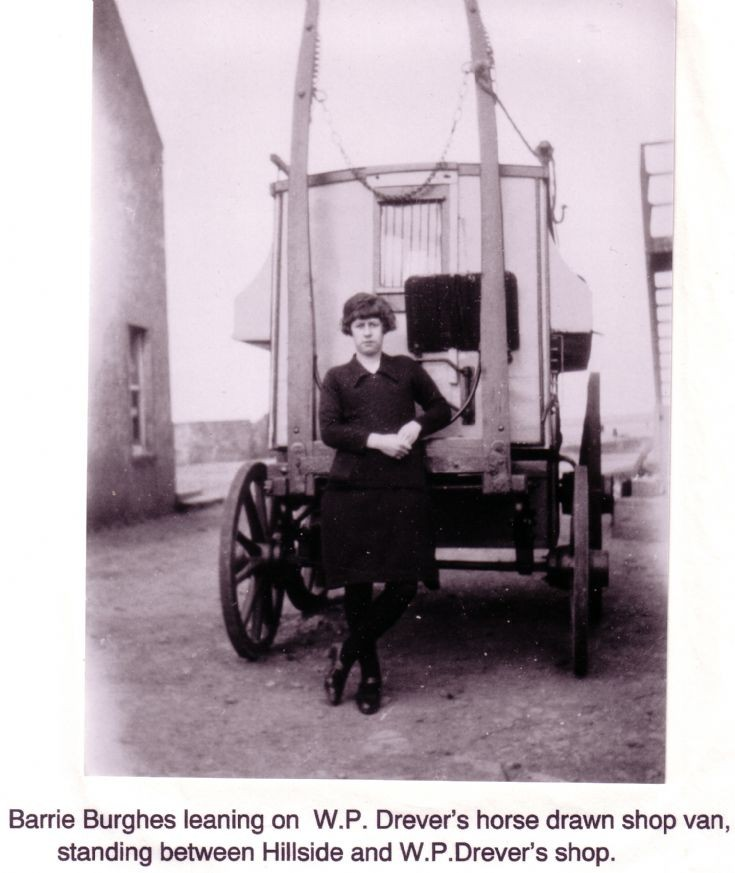 Barrie Burghes leaning on W.P.Drever's shop van