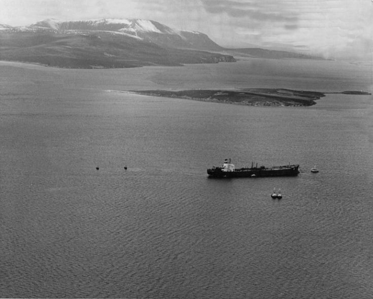 Tanker in Scapa Flow from the air
