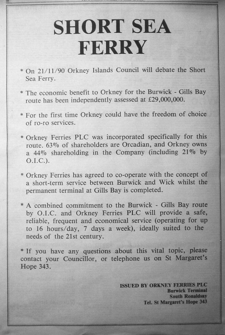 Short Sea Ferry 1990