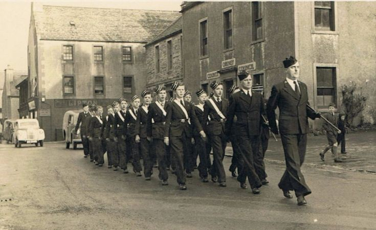Boys Brigade marching onto Broad Street