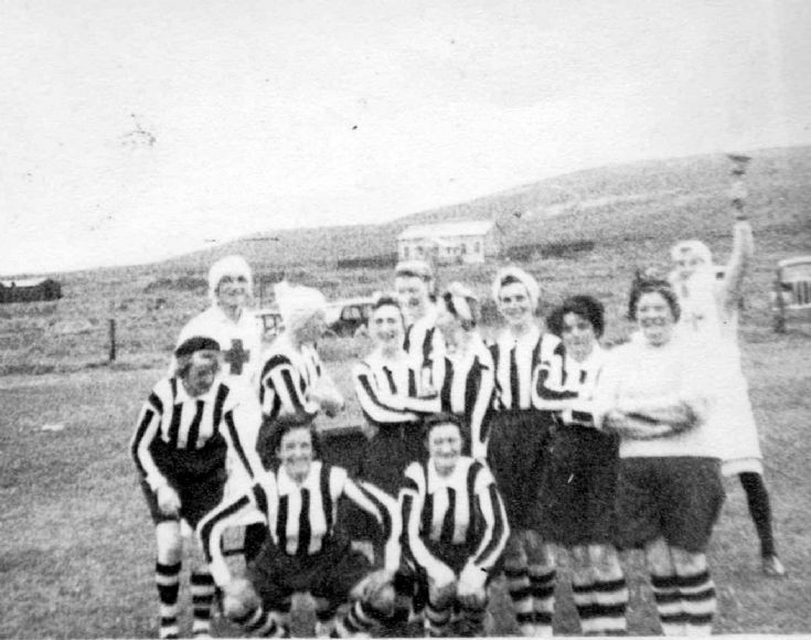 At the football pitch at Lyness
