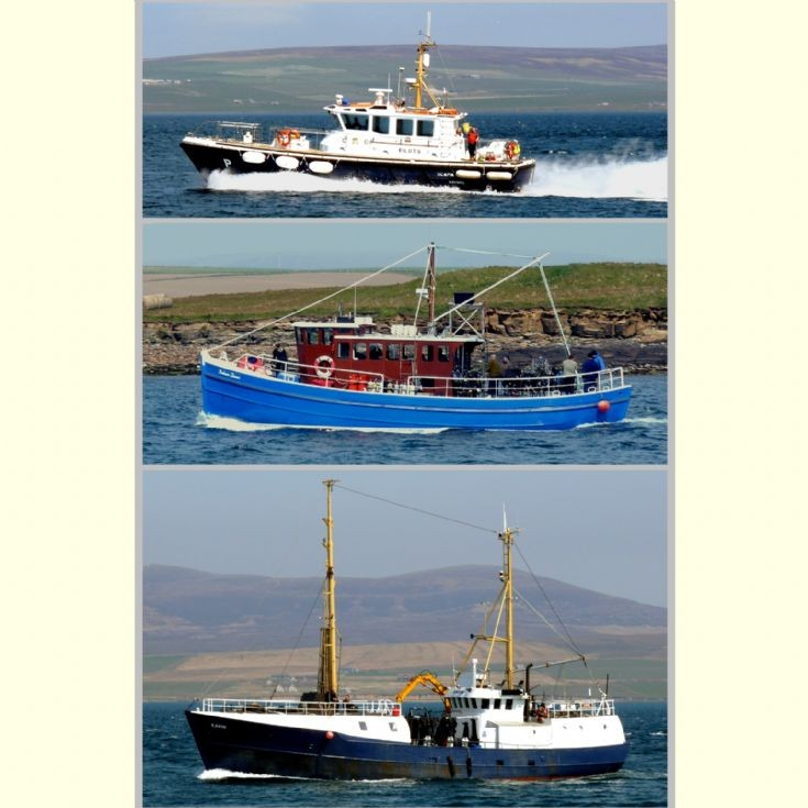 Three boats entering Stromness harbour