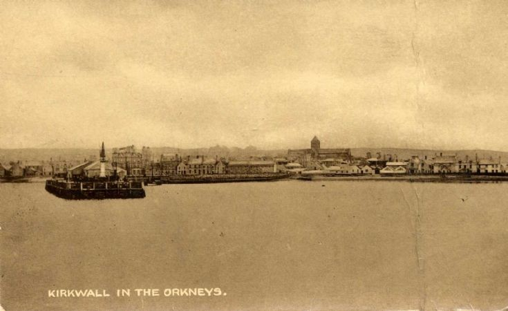 Postcard of Kirkwall from sea