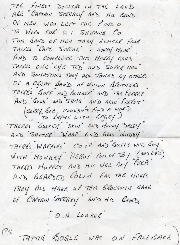 Poem of dockers' nicknames