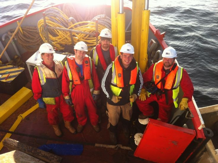 Deck crew in bow of Severn Sea