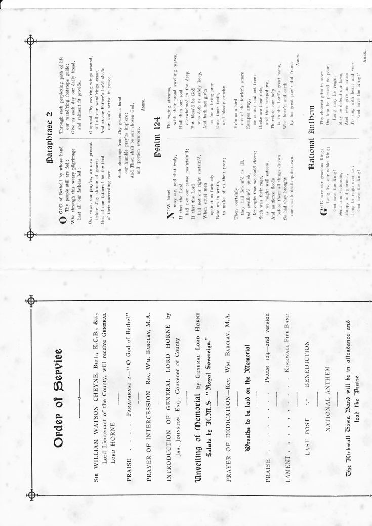 Programme for Unveiling Kitchener Memorial 1926