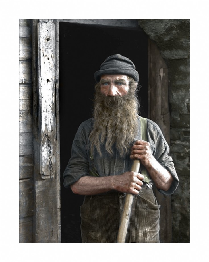 Colourised photo of farmer from Papdale Farm