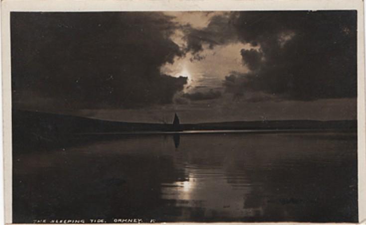 Sun setting on becalmed yacht, 1930s