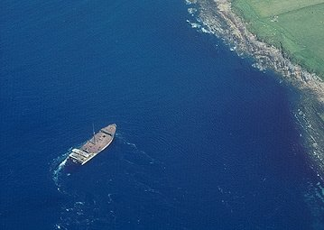 Blockship (Hoy) from the air