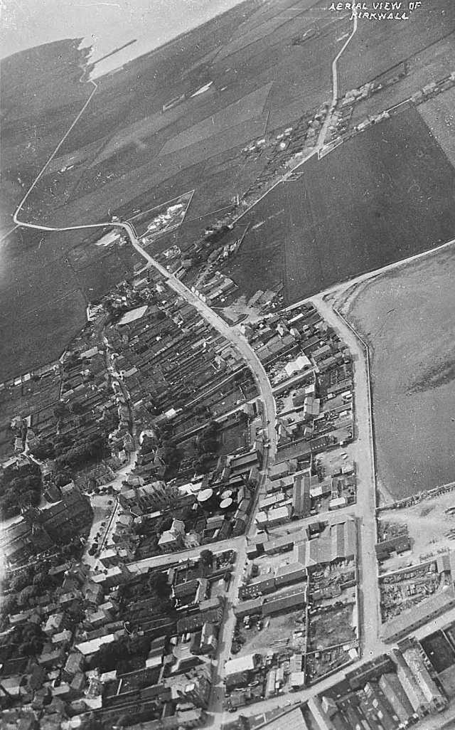 Aerial view of Kirkwall looking to Scapa, 1931