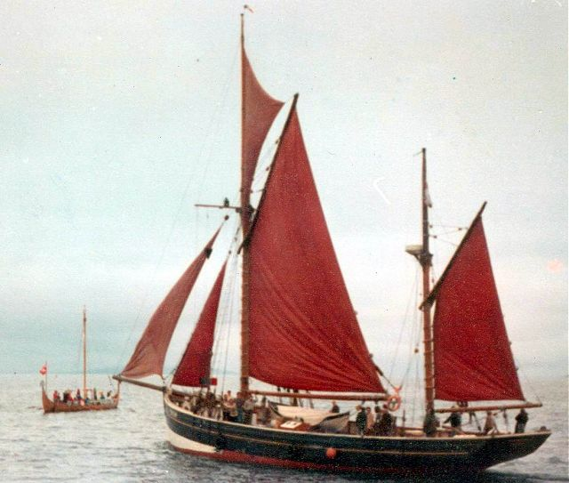 Longship and unidentified sailing vessel